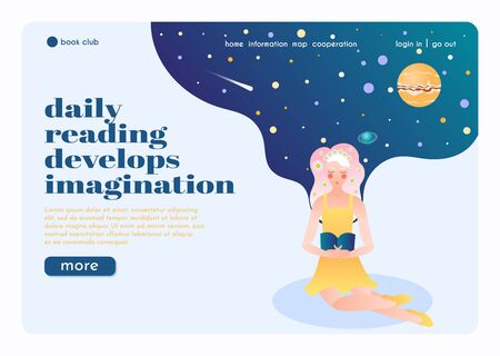 Illustration pour Online book club landing page flat composition with reading flower girl  imagining herself in universe vector illustration - image libre de droit