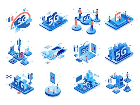 Illustration pour Isometric 5g internet set with isolated compositions of icons pictograms and images of electronic gadgets with people vector illustration  - image libre de droit