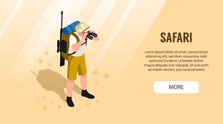 Isometric horizontal banner with safari tourist with gun looking through binoculars 3d vector illustration