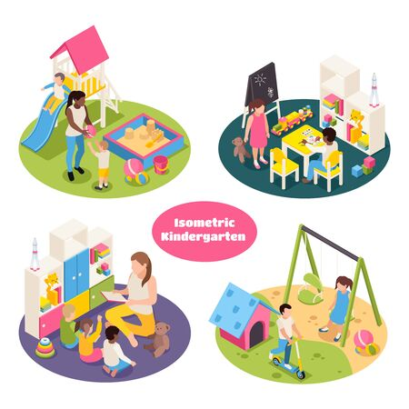 Ilustración de Set of four isolated kindergarten isometric round compositions with playground equipment toys and kids with teachers vector illustration - Imagen libre de derechos