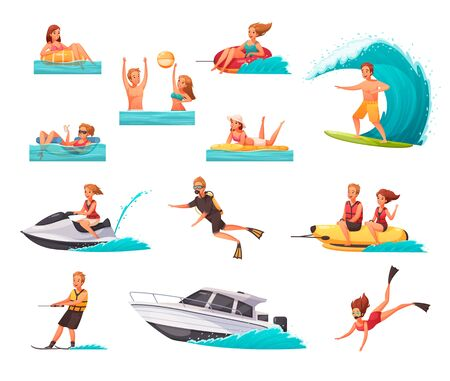 Ilustración de Cartoon set of icons with people doing water sports and playing in sea isolated on white background vector illustration - Imagen libre de derechos