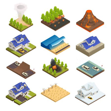 Illustration pour Natural disaster isometric icon set with wildfire tsunami tornado flood drought snow hail and other vector illustration - image libre de droit