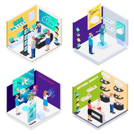 Illustration pour Modern technology exhibition halls 4 isometric compositions with virtual reality interactive demonstration electronics promotion stands vector  illustration - image libre de droit