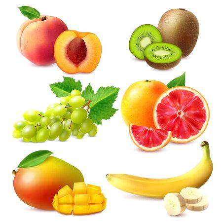 Illustration pour Realistic fruits set with whole and sliced ripe banana mango kiwi grapefruit grapes peach isolated vector illustration - image libre de droit