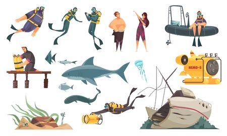 Illustration pour Scuba diving flat comics elements set  swimming with fish ocean bottom sunken ship wetsuit bathyscaphe vector illustration - image libre de droit