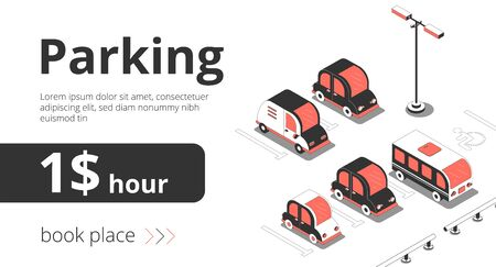 Illustration pour Advertising banner car isometric background with view of parking spots with cars and text with price vector illustration - image libre de droit