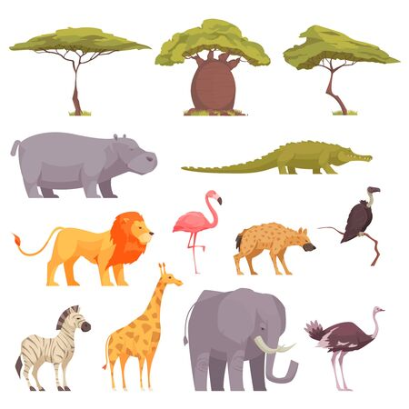 Illustration pour Safari wild animals birds trees flat icons collection with baobab acacia crocodile zebra flamingo lion vector illustration - image libre de droit
