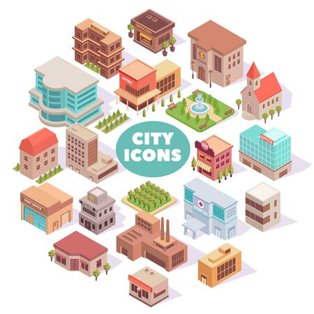 Illustration for Composition with city isometric colourful images with modern buildings squares and gardens with text and shadows vector illustration - Royalty Free Image
