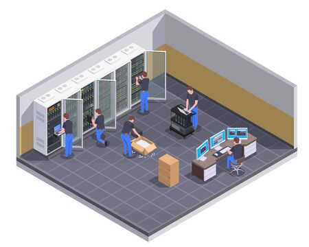 Illustration pour Data center facility isometric view with personnel checking server unpacking hardware equipment administrator controlling operations vector illustration - image libre de droit
