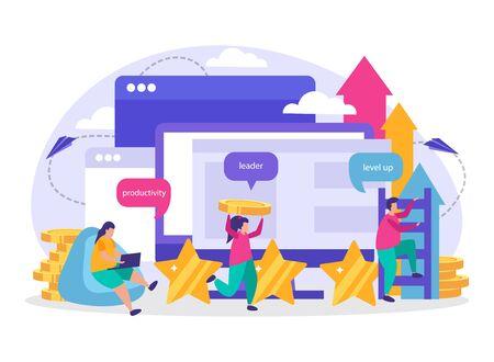 Ilustración de Business gamification flat composition with icons representing productivity leadership level up elements vector illustration - Imagen libre de derechos