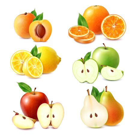 Illustration pour Whole and sliced fruits colored set of orange lemon apple peach pear isolated on white background realistic  vector illustration - image libre de droit