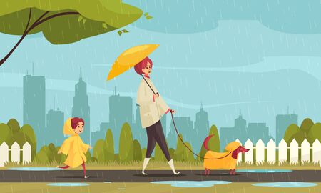 Illustration for Walking dog in bad weather flat composition with mother child dachshund in raincoats cityscape background vector illustration - Royalty Free Image