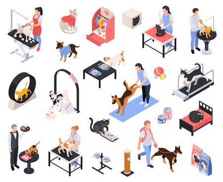 Illustration pour Pet services dogs grooming boarding walking fitness feeding vet examination vaccination isometric icons set isolated vector illustration - image libre de droit