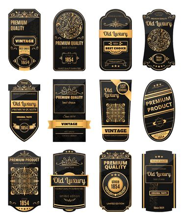 Photo pour Realistic set of black and golden retro labels for packaging luxury products isolated vector illustration - image libre de droit