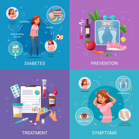 Illustration for Prevention symptoms and treatment of diabetes cartoon 2x2 design concept on colorful background isolated vector illustration - Royalty Free Image