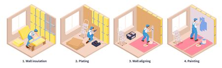 Illustration for Isometric repairs set of four cubic shaped compositions text captions and different stages of decoration works vector illustration - Royalty Free Image