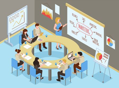 Illustration pour Isometric business training hall composition with indoor office scenery and group of people learning marketing skills vector illustration - image libre de droit