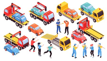 Illustration pour Isometric tow truck car vehicle transportation help road set with isolated people and images of lorry vector illustration - image libre de droit