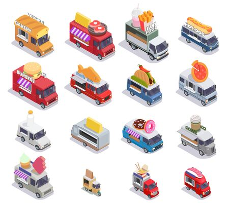 Illustration pour Food truck isometric set of sixteen isolated images with mobile fastfood selling points of different design vector illustration - image libre de droit