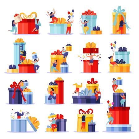 Illustration pour People with gifts flat collection of isolated doodle compositions with human characters climbing up gift boxes vector illustration - image libre de droit