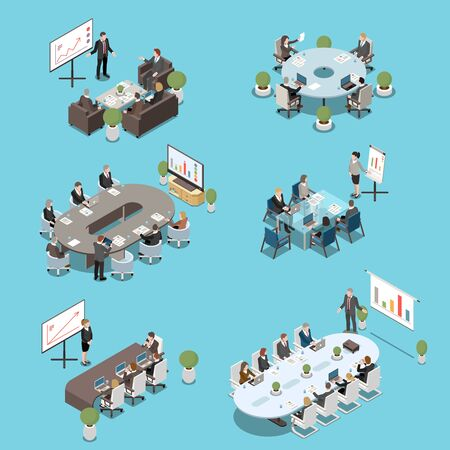 Illustration pour Modern conference meeting room elements isometric set with boardroom tables participants white board presentations isolated vector illustration - image libre de droit