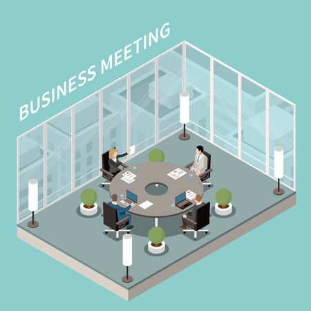 Illustration pour Company business office meeting room interior isometric composition with round boardroom table discussion glass walls vector illustration    - image libre de droit