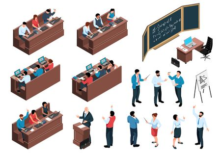 Illustration pour Isometric professor lecture class students set of isolated icons human characters and desks with sitting students vector illustration - image libre de droit