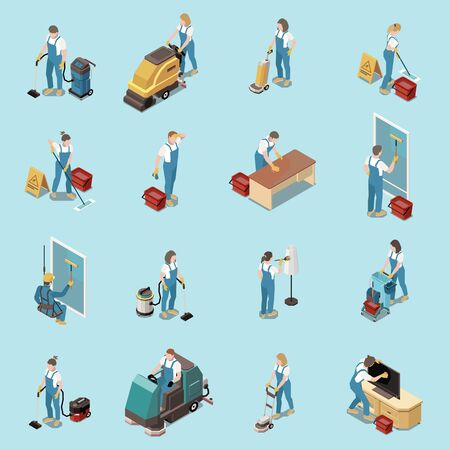 Illustration pour Professional office cleaning housekeeping services people equipment isometric icons set with vacuuming sweeping mopping floors vector illustration     - image libre de droit