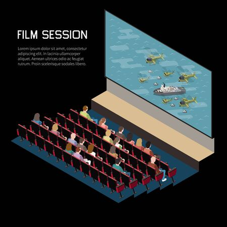 Illustration for Cinema isometric composition with indoor view of auditorium watching movie with seats screen and editable text vector illustration - Royalty Free Image