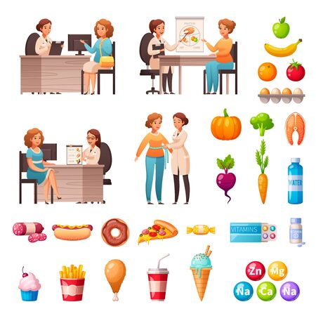 Illustration pour Nutritionist dietary recommendations cartoon icons set with appointment treatment healthy meals vitamins products to avoid vector illustration  - image libre de droit
