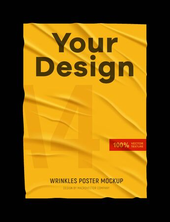 Illustration pour Wrinkled badly glued crumpled yellow paper poster mock up texture black background your design realistic vector illustration  - image libre de droit