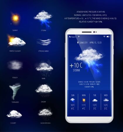 Illustration pour Weather forecast mobile application with temperature humidity and visibility realistic vector illustration - image libre de droit