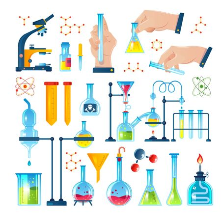 Illustration pour Chemistry laboratory icon set with chemicals test tubes experiments molecules and formulas - image libre de droit