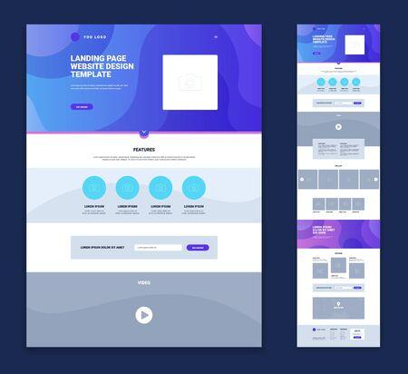 Illustration pour Colored landing page website design template set with flat elements links minimalist style vector illustration - image libre de droit