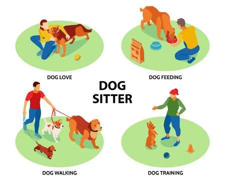 Illustration pour Dog sitter 4 circular isometric compositions with pets training feeding walking outdoor activities care love vector illustration  - image libre de droit