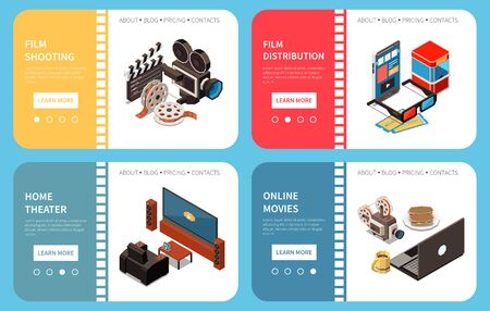 Illustration pour Set of four cinema isometric horizontal banners with compositions of images and clickable learn more buttons vector illustration - image libre de droit