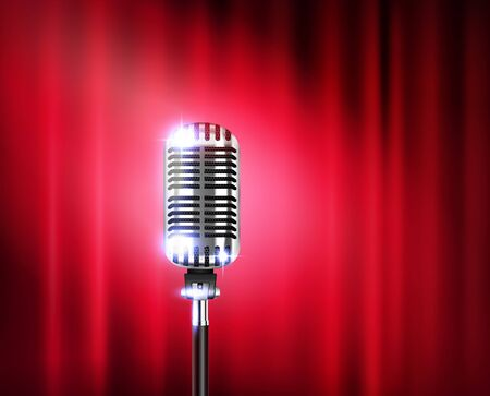 Illustration pour Microphone stand up show realistic composition with shiny microphone against a red theater curtain vector illustration - image libre de droit