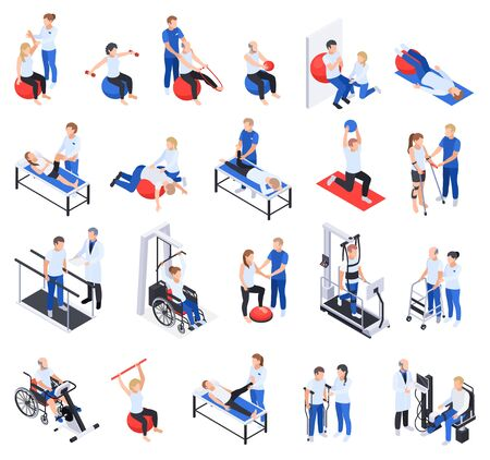 Illustration pour Physiotherapy rehabilitation clinic isometric icons set with injured and disabled people massage treatment exercises equipment vector illustration - image libre de droit