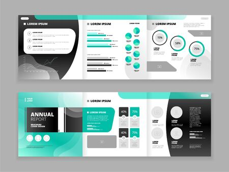 Illustration pour Trifold brochure cover design set for business reports with abstract pattern isolated on grey background flat vector illustration - image libre de droit