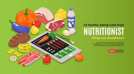 Illustration pour Isometric dietician nutritionist horizontal banner with editable text and images of ripe food with gadget statistics vector illustration - image libre de droit