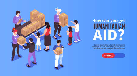 Illustration for Volunteers giving boxes with humanitarian aid to needy people 3d isometric banner vector illustration - Royalty Free Image
