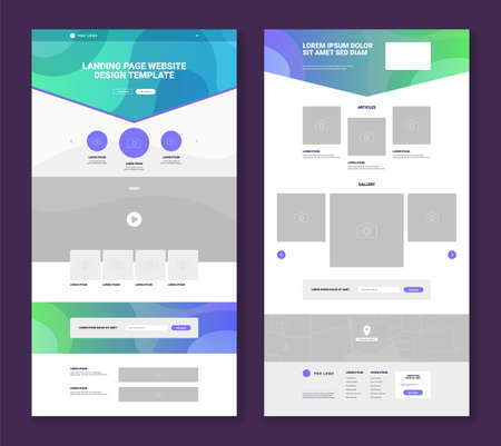 Illustration pour Set of two website landing page templates with simple design gallery articles video map contact form flat isolated vector illustration - image libre de droit