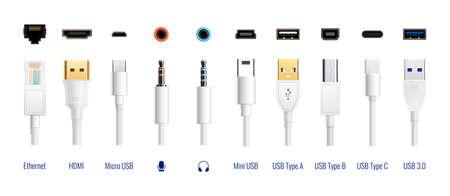 Illustration pour White usb types port plug in cables set with realistic images of connectors with text captions vector illustration - image libre de droit