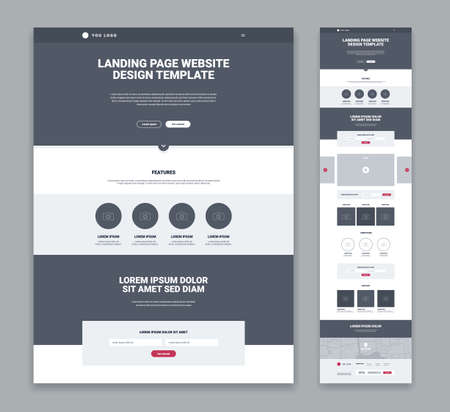 Illustration for Landing page design template in grey and white color flat isolated vector illustration - Royalty Free Image