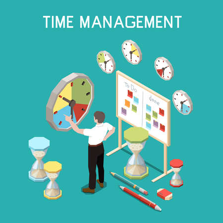 Illustration pour Soft skills isometric composition with time management concept and man at the work vector illustration - image libre de droit
