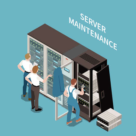 Illustration pour Data center colored and isometric composition server maintenance headline and situation at work vector illustration - image libre de droit