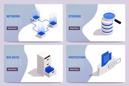 Illustration pour Big data storage solutions safe access processing network protection 4 isometric web banners templates set vector illustration  - image libre de droit