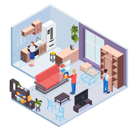 Illustration for Furniture showroom with virtual reality service kitchen and living room sections designer visitor and worker characters isometric vector illustration - Royalty Free Image
