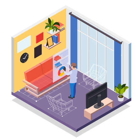 Illustration for Augmented reality furniture isometric concept with man in vr headset simulating his presence in virtual living room vector illustration - Royalty Free Image