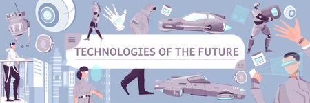 Ilustración de Technologies Of Future Flat Pattern - Imagen libre de derechos